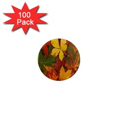 Colorful Autumn Leaves Leaf Background 1  Mini Magnets (100 pack)