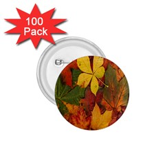 Colorful Autumn Leaves Leaf Background 1 75  Buttons (100 Pack)