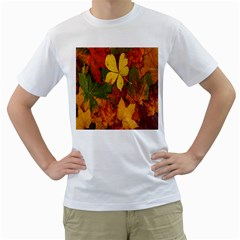 Colorful Autumn Leaves Leaf Background Men s T-Shirt (White) (Two Sided)