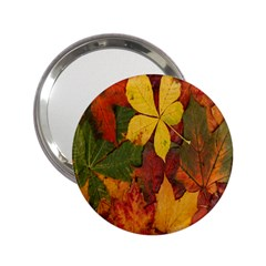 Colorful Autumn Leaves Leaf Background 2.25  Handbag Mirrors