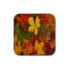 Colorful Autumn Leaves Leaf Background Rubber Coaster (Square)