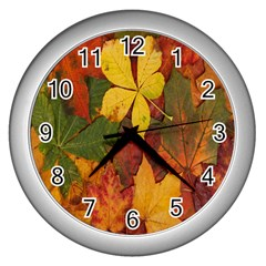 Colorful Autumn Leaves Leaf Background Wall Clocks (silver)