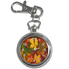 Colorful Autumn Leaves Leaf Background Key Chain Watches