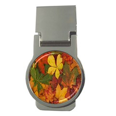 Colorful Autumn Leaves Leaf Background Money Clips (round)