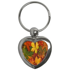 Colorful Autumn Leaves Leaf Background Key Chains (heart)