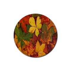 Colorful Autumn Leaves Leaf Background Rubber Coaster (round)