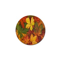 Colorful Autumn Leaves Leaf Background Golf Ball Marker (4 Pack)