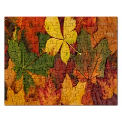 Colorful Autumn Leaves Leaf Background Rectangular Jigsaw Puzzl