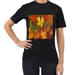 Colorful Autumn Leaves Leaf Background Women s T-Shirt (Black) (Two Sided)
