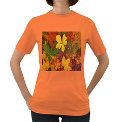 Colorful Autumn Leaves Leaf Background Women s Dark T Shirt