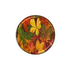 Colorful Autumn Leaves Leaf Background Hat Clip Ball Marker (4 pack)