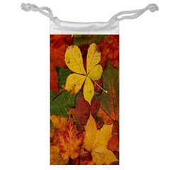 Colorful Autumn Leaves Leaf Background Jewelry Bag
