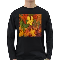 Colorful Autumn Leaves Leaf Background Long Sleeve Dark T Shirts