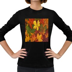 Colorful Autumn Leaves Leaf Background Women s Long Sleeve Dark T Shirts