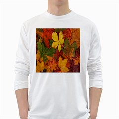 Colorful Autumn Leaves Leaf Background White Long Sleeve T Shirts