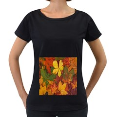 Colorful Autumn Leaves Leaf Background Women s Loose Fit T Shirt (black)