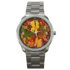 Colorful Autumn Leaves Leaf Background Sport Metal Watch