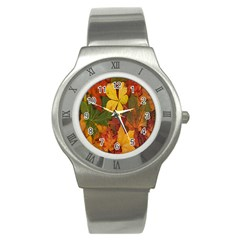 Colorful Autumn Leaves Leaf Background Stainless Steel Watch