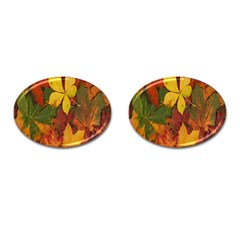 Colorful Autumn Leaves Leaf Background Cufflinks (oval)