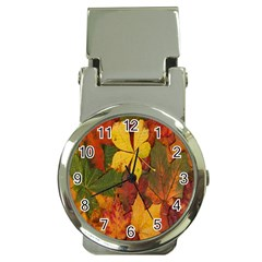 Colorful Autumn Leaves Leaf Background Money Clip Watches