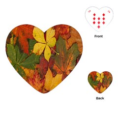 Colorful Autumn Leaves Leaf Background Playing Cards (heart)