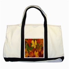 Colorful Autumn Leaves Leaf Background Two Tone Tote Bag