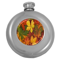 Colorful Autumn Leaves Leaf Background Round Hip Flask (5 Oz)