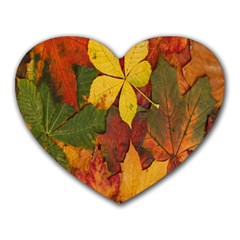 Colorful Autumn Leaves Leaf Background Heart Mousepads