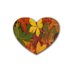 Colorful Autumn Leaves Leaf Background Rubber Coaster (Heart)