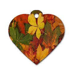 Colorful Autumn Leaves Leaf Background Dog Tag Heart (two Sides)