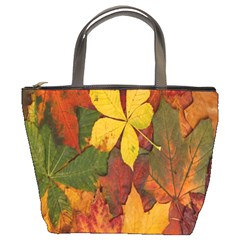 Colorful Autumn Leaves Leaf Background Bucket Bags