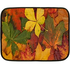 Colorful Autumn Leaves Leaf Background Double Sided Fleece Blanket (mini)
