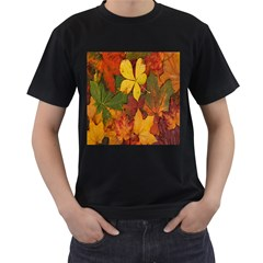 Colorful Autumn Leaves Leaf Background Men s T Shirt (black)