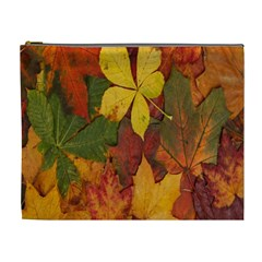 Colorful Autumn Leaves Leaf Background Cosmetic Bag (xl)