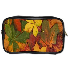 Colorful Autumn Leaves Leaf Background Toiletries Bags