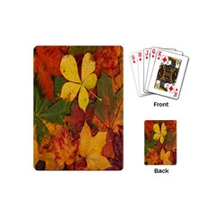 Colorful Autumn Leaves Leaf Background Playing Cards (mini)