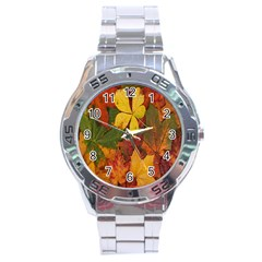 Colorful Autumn Leaves Leaf Background Stainless Steel Analogue Watch