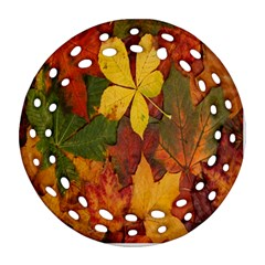 Colorful Autumn Leaves Leaf Background Round Filigree Ornament (two Sides)