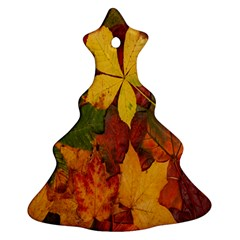 Colorful Autumn Leaves Leaf Background Christmas Tree Ornament (two Sides)