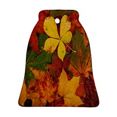 Colorful Autumn Leaves Leaf Background Bell Ornament (Two Sides)