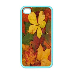 Colorful Autumn Leaves Leaf Background Apple iPhone 4 Case (Color)