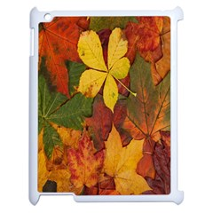 Colorful Autumn Leaves Leaf Background Apple iPad 2 Case (White)