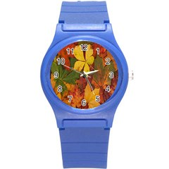 Colorful Autumn Leaves Leaf Background Round Plastic Sport Watch (s)