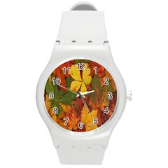 Colorful Autumn Leaves Leaf Background Round Plastic Sport Watch (m)