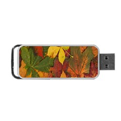 Colorful Autumn Leaves Leaf Background Portable Usb Flash (one Side)