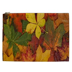 Colorful Autumn Leaves Leaf Background Cosmetic Bag (xxl)
