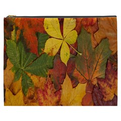 Colorful Autumn Leaves Leaf Background Cosmetic Bag (xxxl)