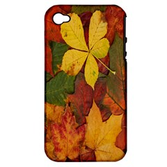 Colorful Autumn Leaves Leaf Background Apple Iphone 4/4s Hardshell Case (pc+silicone)