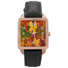 Colorful Autumn Leaves Leaf Background Rose Gold Leather Watch