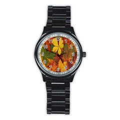 Colorful Autumn Leaves Leaf Background Stainless Steel Round Watch